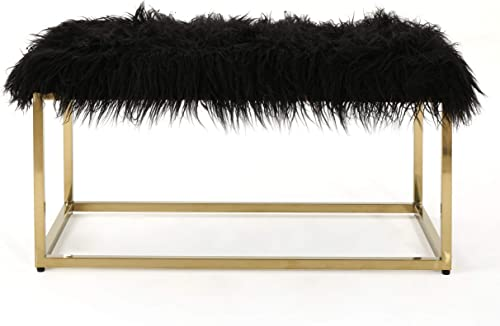 Christopher Knight Home Mallory Fauc Furry Long Fur Ottoman with Stainless Steel Frame, Black Steel Golden