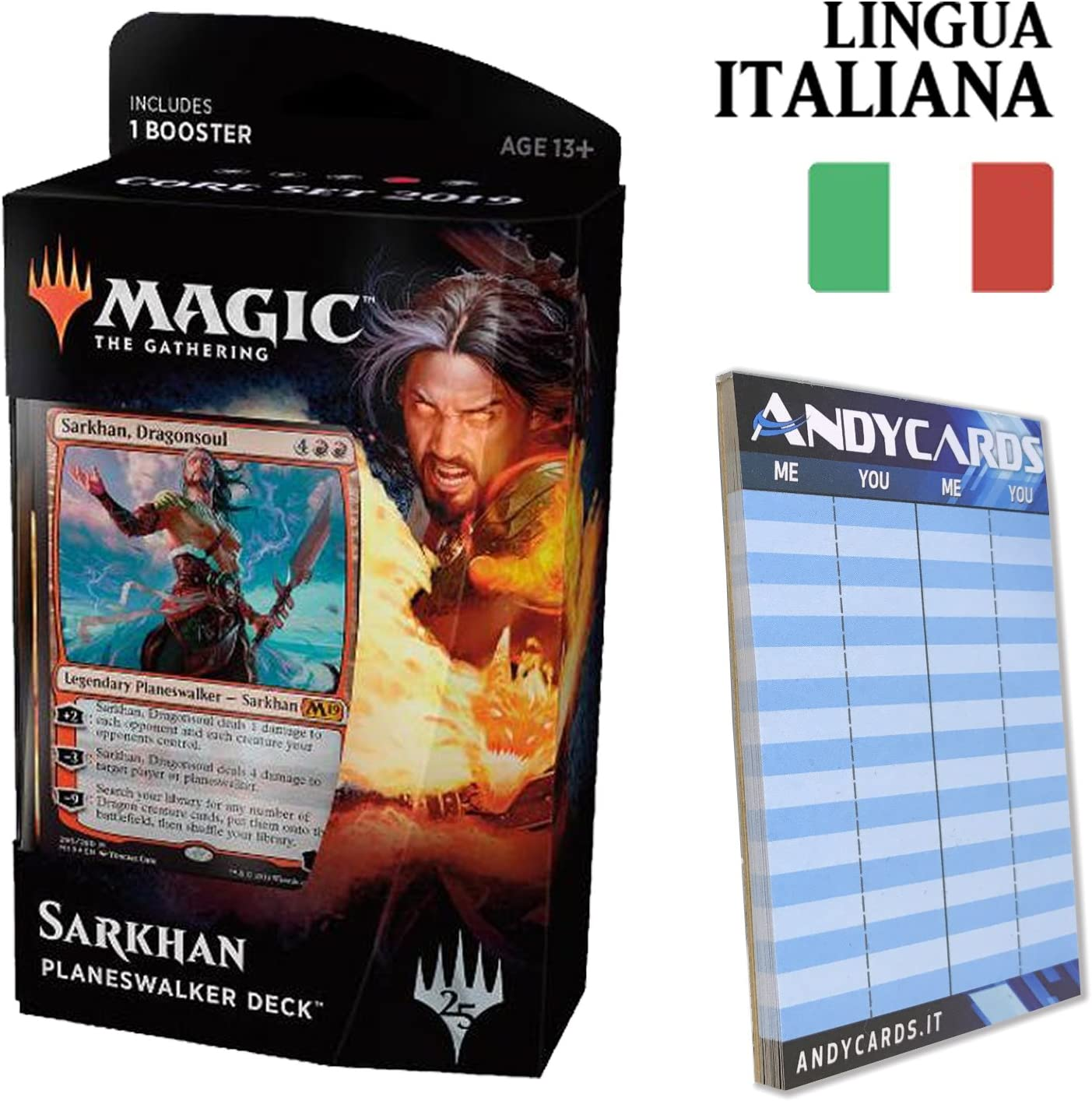 Set Base M20-60 Carte Magic in Italiano con Planeswalker Andycards Mazzo Sorin Segnapunti 1 Busta
