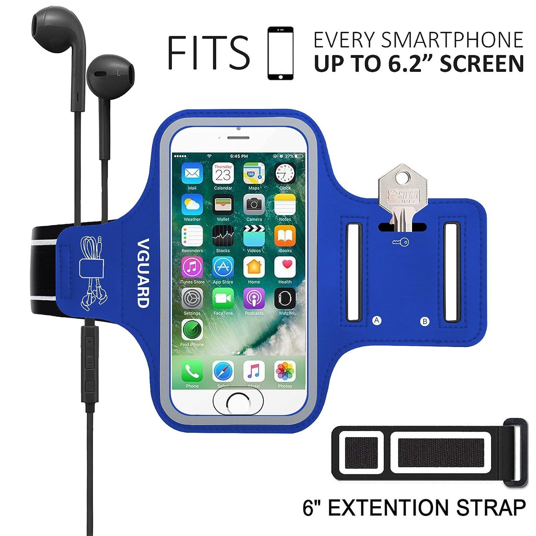 Azul Tarjetas y Banda Reflectante Caja del Brazalete Antideslizante para Deportes con Soporte para Llaves Cables VGUARD Brazalete Deportivo para 5.1 Pulgados Moviles