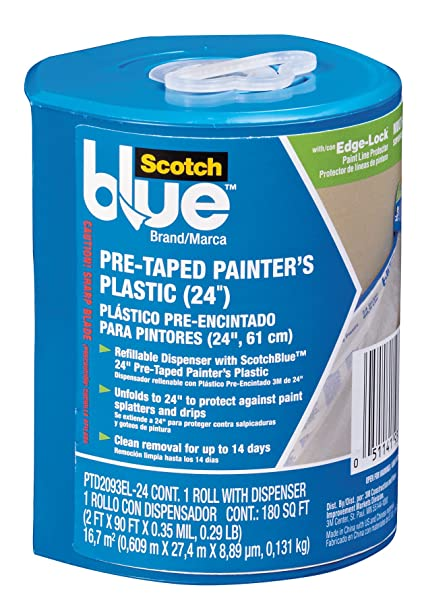 "24"" x 30 Yards Plastic Pre-Taped Painters with Dispenser"