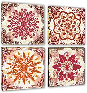 red retro Decorative pattern Canvas Wall Art for Living Room Bathroom abstract wall pictures family Wall Decor Painting Canvas Artwork 4 Piece Framed Bedroom Wall Decorations Office kitchen Home Decor