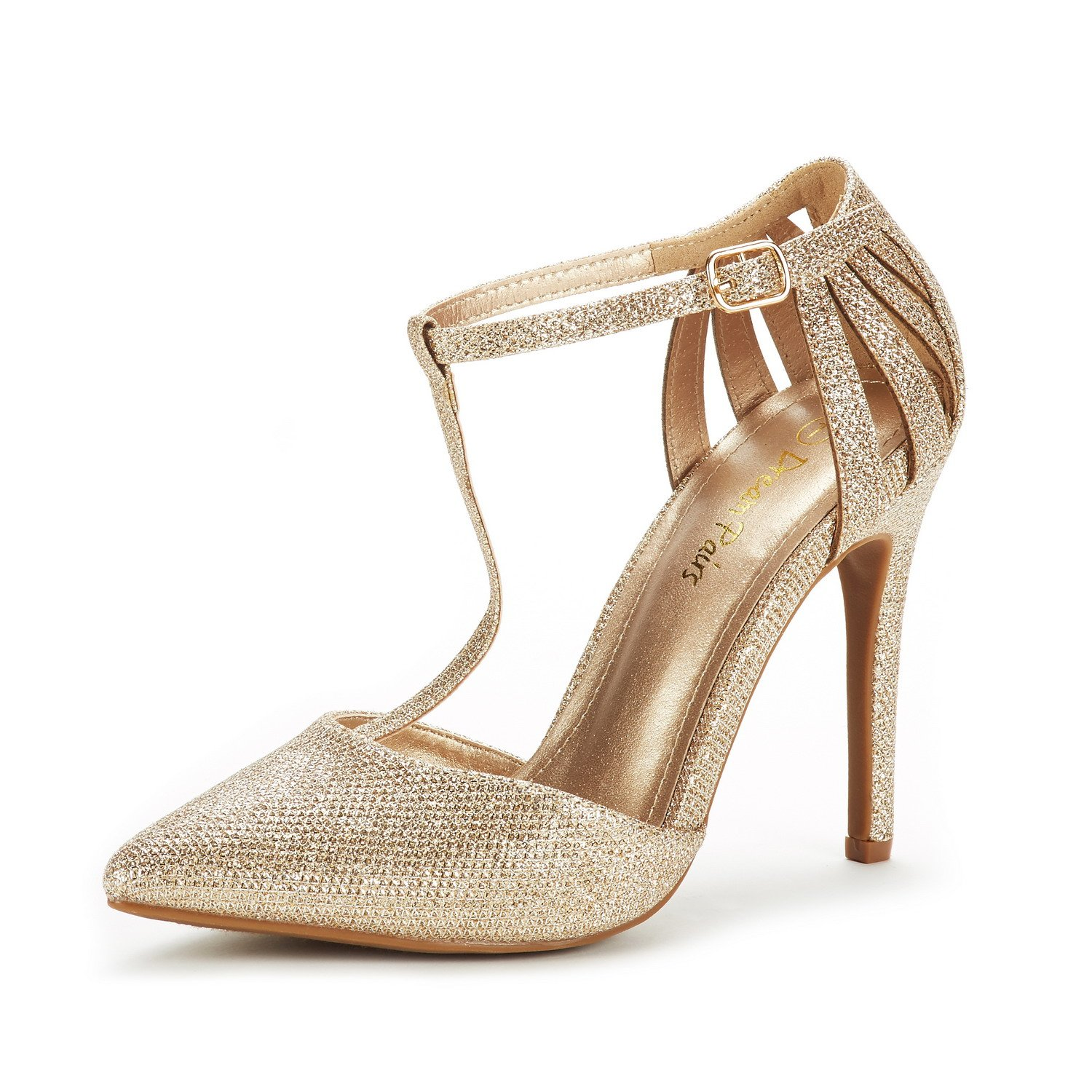 DREAM PAIRS Women's Oppointed-Mary Gold Glitter Fashion Dress High Heel Pointed Toe Wedding Pumps Shoes Size 9 M US