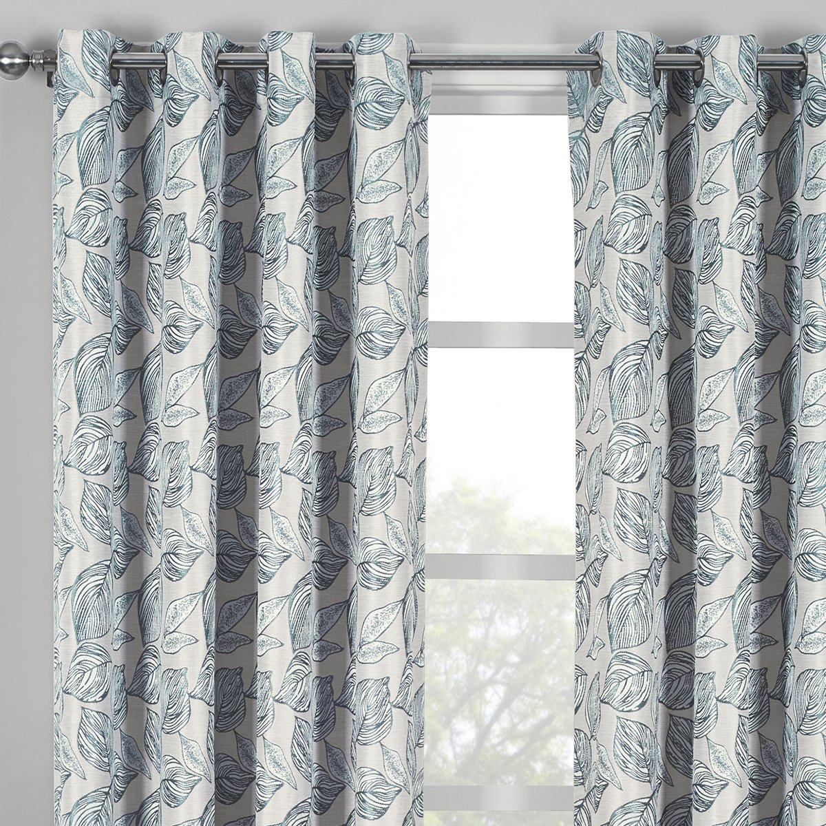 Catalina Gray, Top Grommet Jacquard Window Curtain Panel, Set of 2 Panels, 108×120 Inches Pair, by Royal Hotel