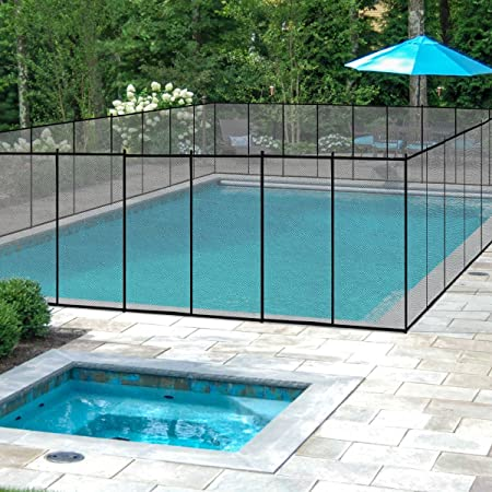 Giantex 4\'X12\' In-Ground Swimming Pool Fence Child Barrier Pool Safety Mesh  Fence Section, Black
