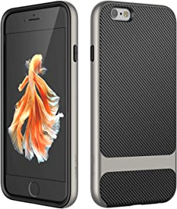 JETech Case for Apple iPhone 6s and iPhone 6, Slim Protective Cover with Shock-Absorption, Carbon Fiber Design (Grey)