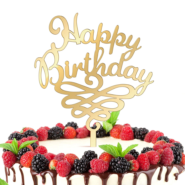 Stupendous Get Fresh Happy Birthday Cake Topper Elegant Gold Glitter Happy Funny Birthday Cards Online Overcheapnameinfo