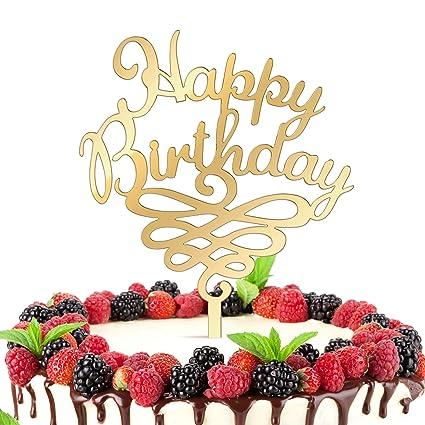 Terrific Get Fresh Happy Birthday Cake Topper Elegant Gold Glitter Happy Funny Birthday Cards Online Fluifree Goldxyz