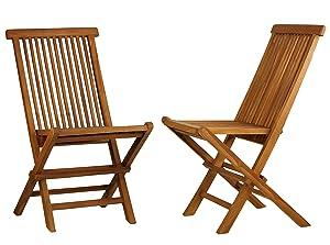 Bare Decor BARE-DC1021 Vega Outdoor Folding Chair, Set of 2 Teak