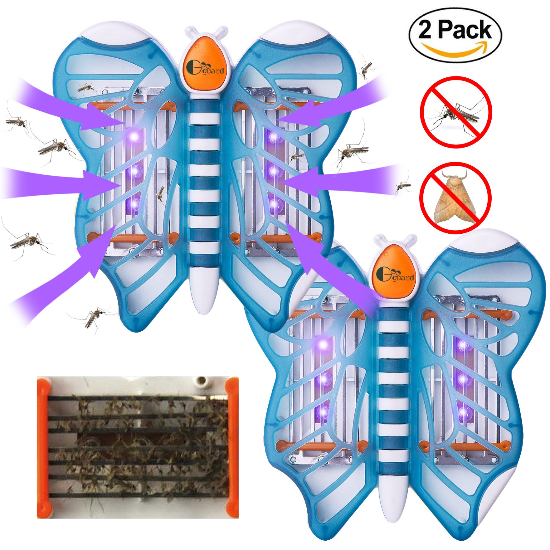 Googuard Mosquito Killer Lamp Bug Zapper Moth Trap Electronic Plug LED UV Light Pest Insect Control Mute Non-toxic Non-radiative 2 Pack