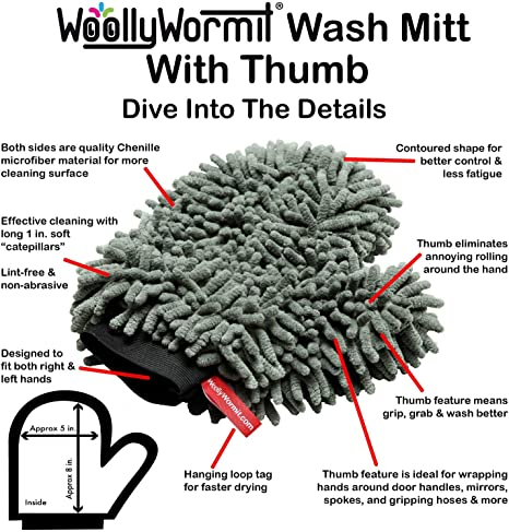 WOOLLYWORMIT Car Detailing Kit Chenille Wash Mitt W//Thumb Pocket and Large Microfiber Shammy Premium Auto Cleaning Supplies Bundle Includes Patented Car Wheel Brush with Integrated Lug Nut Cleaner