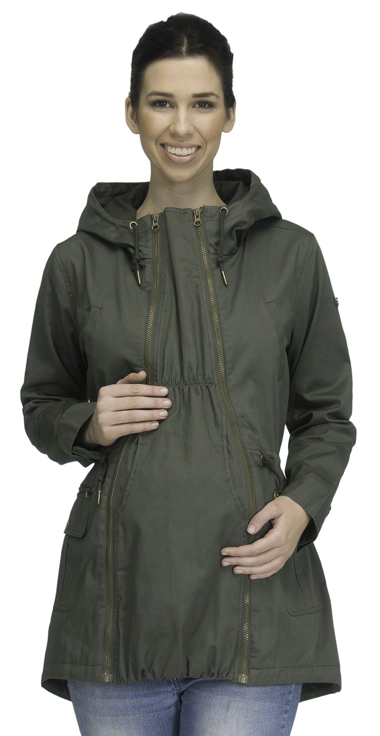 Modern Eternity Womens Military Style Jacket Maternity X-Large Khaki Green