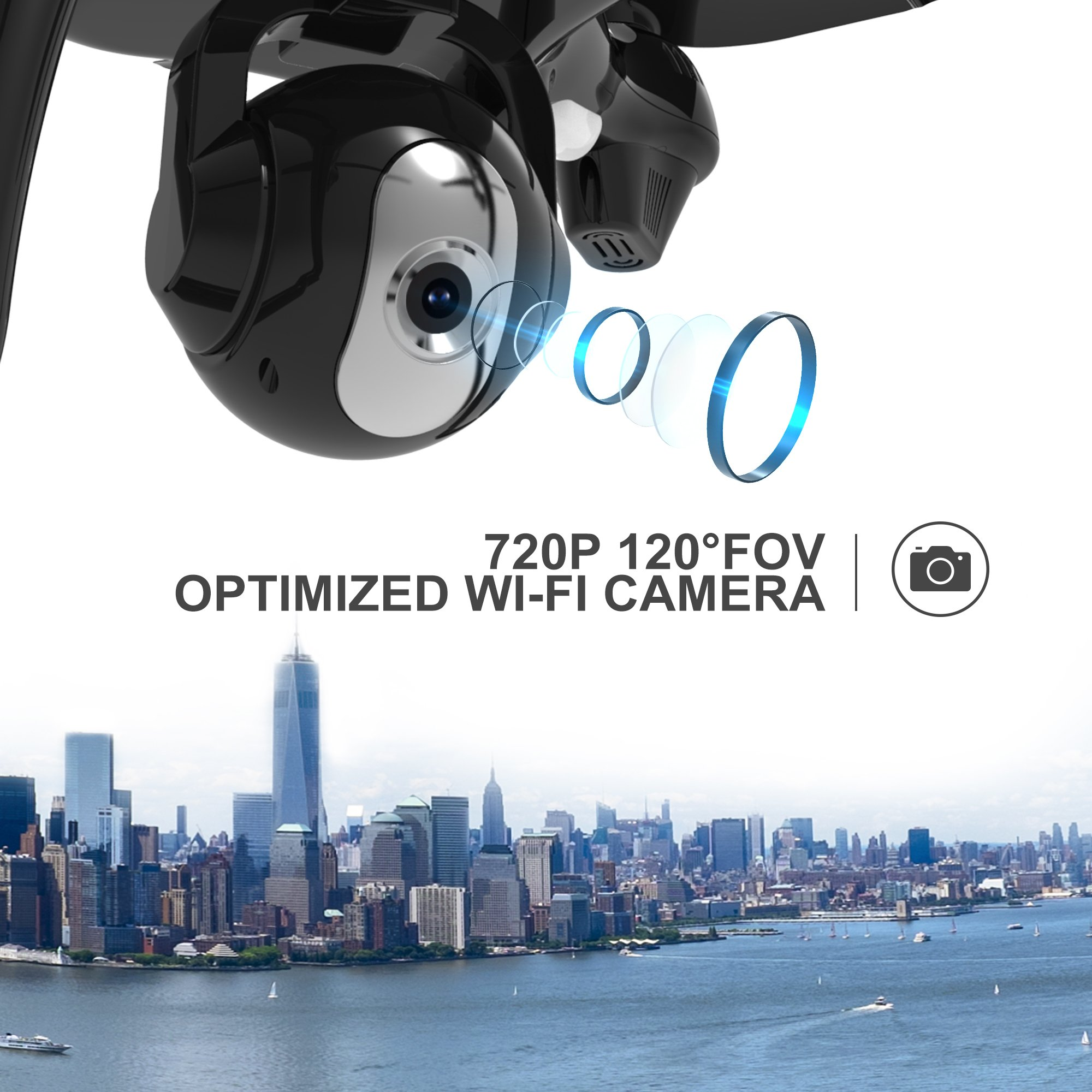 Holy Stone HS100 FPV RC Drone with Camera Live Video and GPS Return Home Quadcopter with Adjustable Wide-Angle 720P HD WIFI Camera- Follow Me, Altitude Hold, Intelligent Battery, Long Control Distance by Holy Stone (Image #4)
