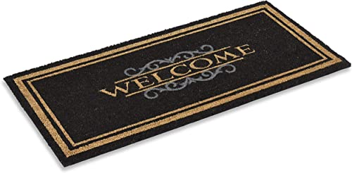 Coco Coir Doormat Elegant Welcome Design 22 X 47 Inches, Rubber Backing, Low, Natural Coco Fiber Mat
