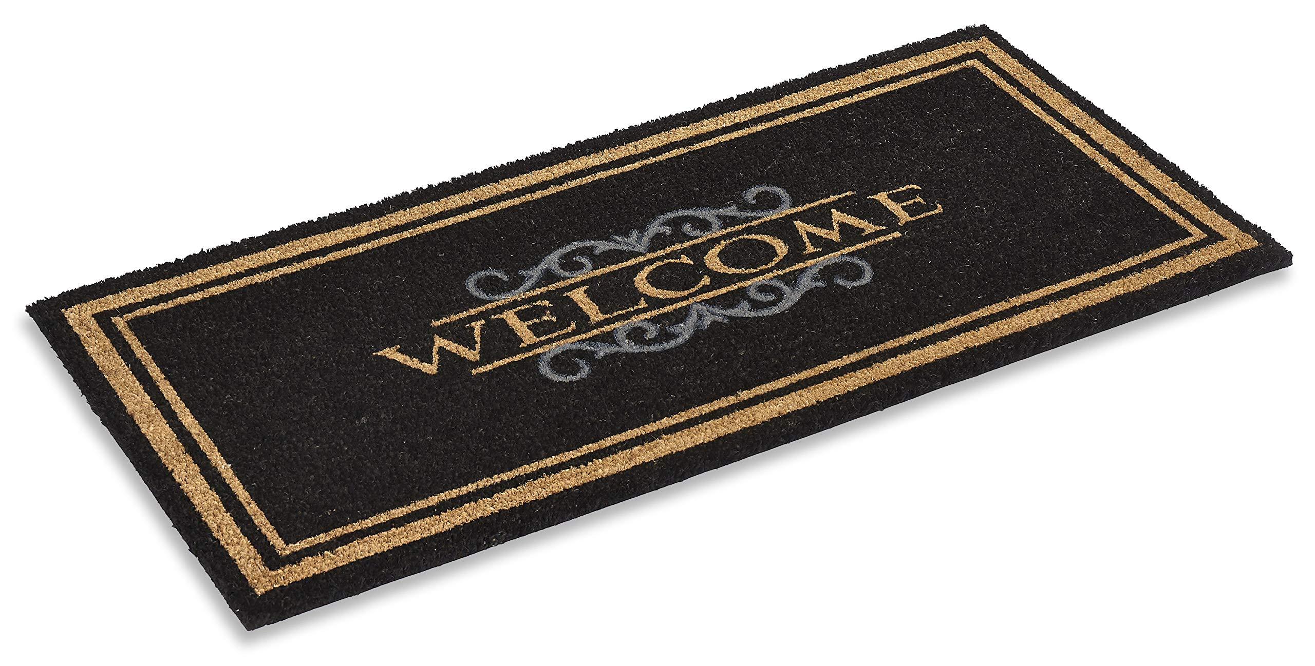 Kempf Printed Coco Coir Doormat Elegant Welcome Design 22'' X 47''
