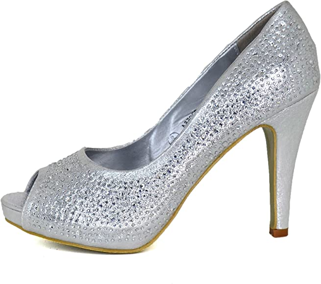 Ladies Diamante Low Kitten Heel Shoes Sparkly Peep toe Party Occasion Pumps size