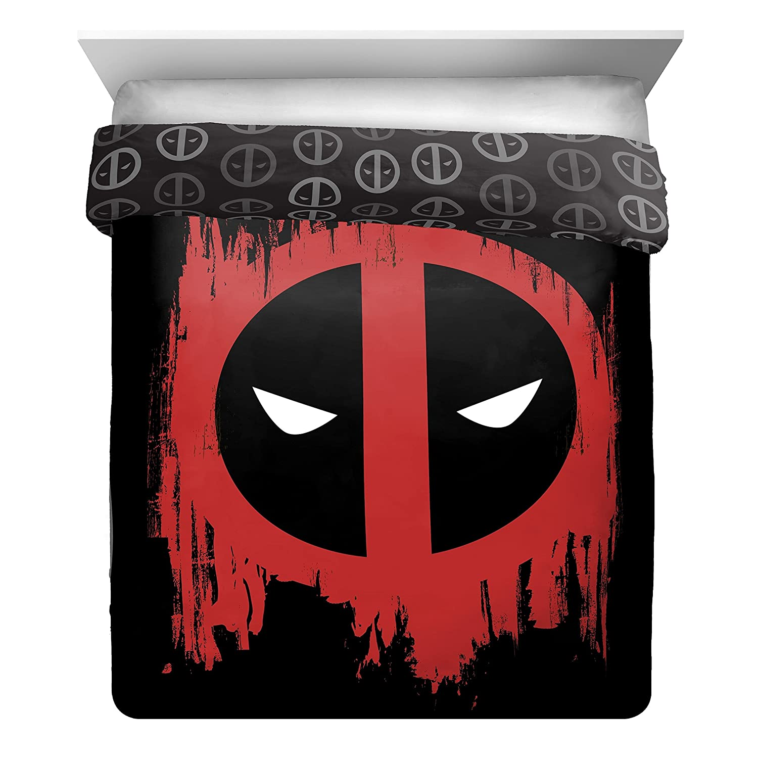 1 Piece Black Red Deadpool Superhero Theme Reversible Comforter Full Size, Beautiful Marvel Comic Iconic Superheroes, Animated Movie Character Print Bedding, Bold Colors, Casual Style, Plush Polyester