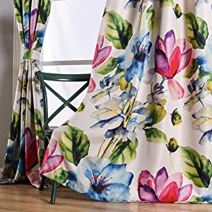 "Taisier Home Colorful Magnolia Pattern Curtains Printed 95 Inches Long for Bedroom,Set of 2 Panels 2 Tiebacks Grommet Top Floral Curtain Drapes for Living Room/Garden(52""×95"",Big Flower)"