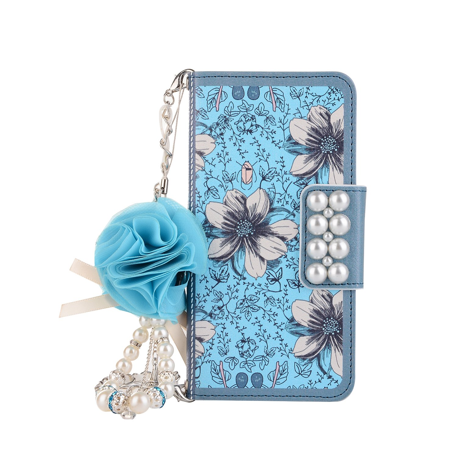 Gostyle Samsung Galaxy S8 Plus Leather Wallet Case, Fashionable Women Handbag Case with Chian, Luxury Blue Flowers Pattern PU Flip Magnetic Case with Credit Card Holder and Wristlet Strap.