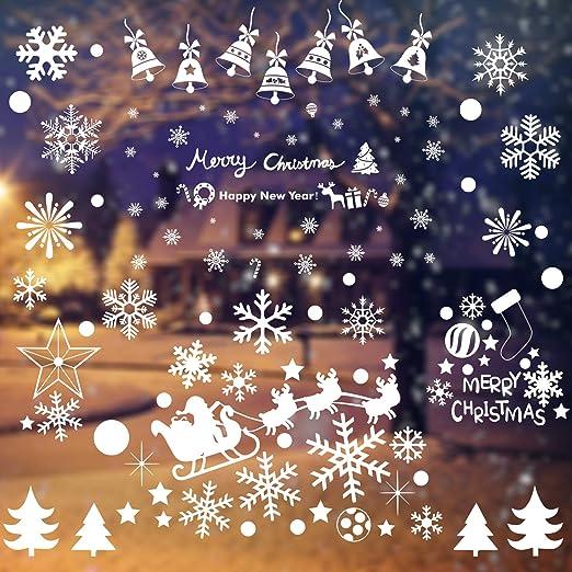 Weihnachten Fensterbilder Schneeflocken Weihnachtsmann Fenster deko Statisch PVC Aufklebe Fensterdeko Fensterfolie Fenstersticker f/ür Weihnachts Winter Dekoration Schaufenster Vitrinen Glasfronten