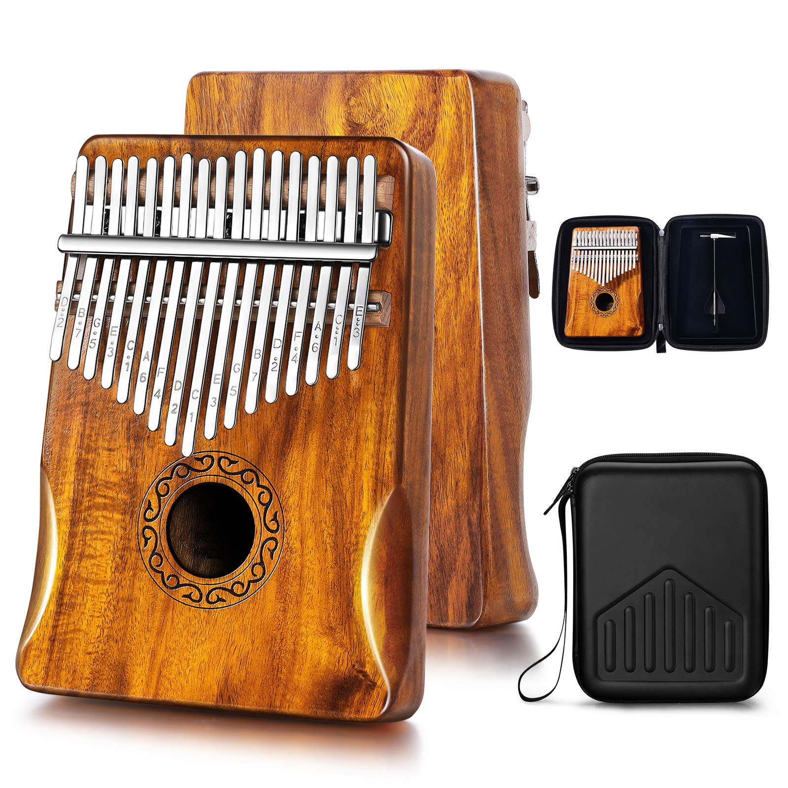 MIFOGE Kalimba Thumb Piano 17 Keys with Koa Acacia Wood,Mbira,Finger Piano Builts-in Waterproof Protective Box, Easy to Learn Portable Musical Instrument,Gift for Kids Adult Beginners (Koa)