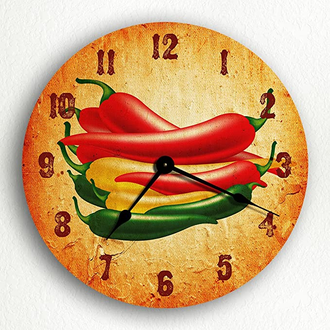 Green Yellow and Red Hot Peppers Round Clock