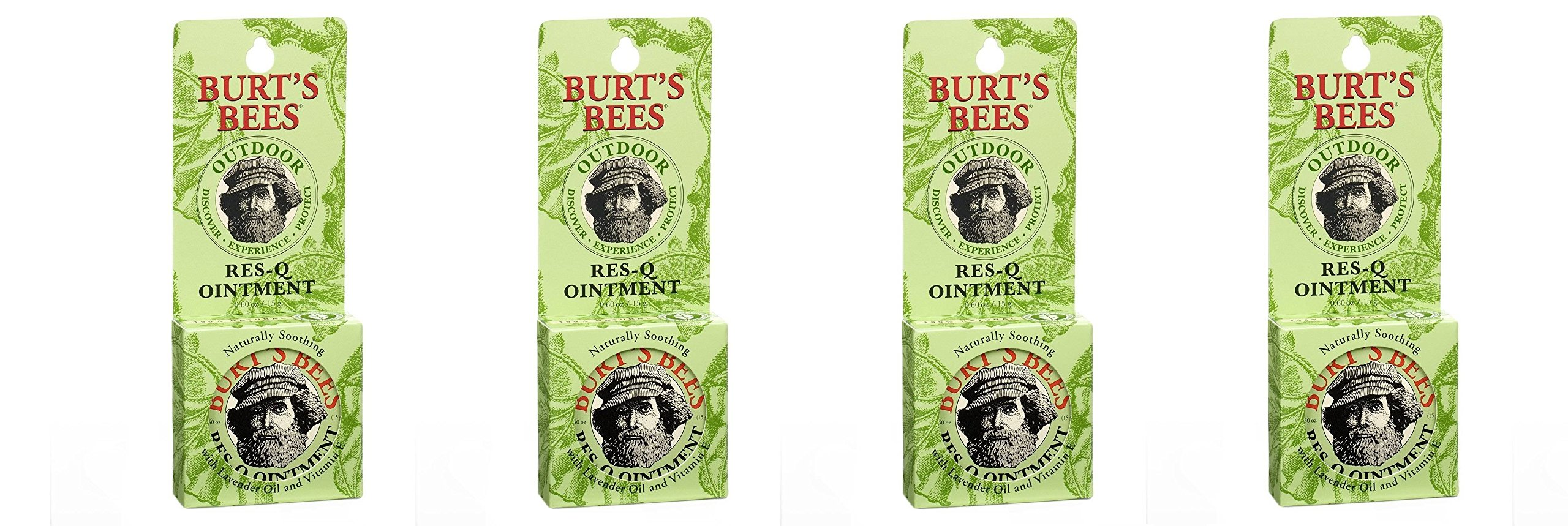 Burts Bees 100% Natural AUJJYF Res-Q Ointment, 0.6 Ounces, 3 Count (Pack of 4)