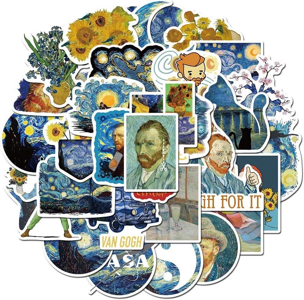 Van Gogh Series,Waterproof,Aesthetic,Trendy Stickers for Teens,Cool Trendy Vinyl Waterproof Bomb Sticker for Laptops,Adult, Teen, Computers, Hydro Flasks, Water Bottles,Suitcase, Big 40-Pack