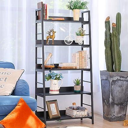 BATHWA Estantería de escalera vintage Estantería de madera y metal Organizador negro Estante de almacenamiento Estante de escalera para sala de estar ...