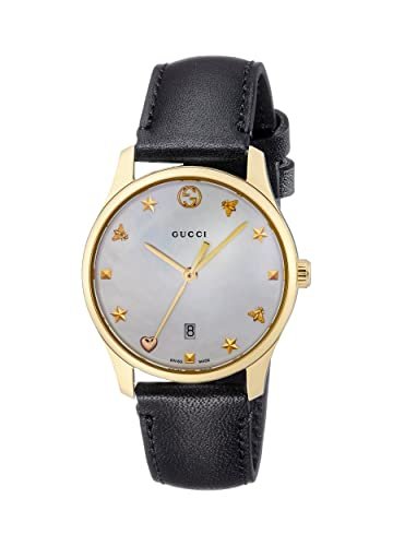 6d7a7d2e810 Gucci Womens Analogue Classic Quartz Watch with Leather Strap YA126589   Amazon.co.uk  Watches
