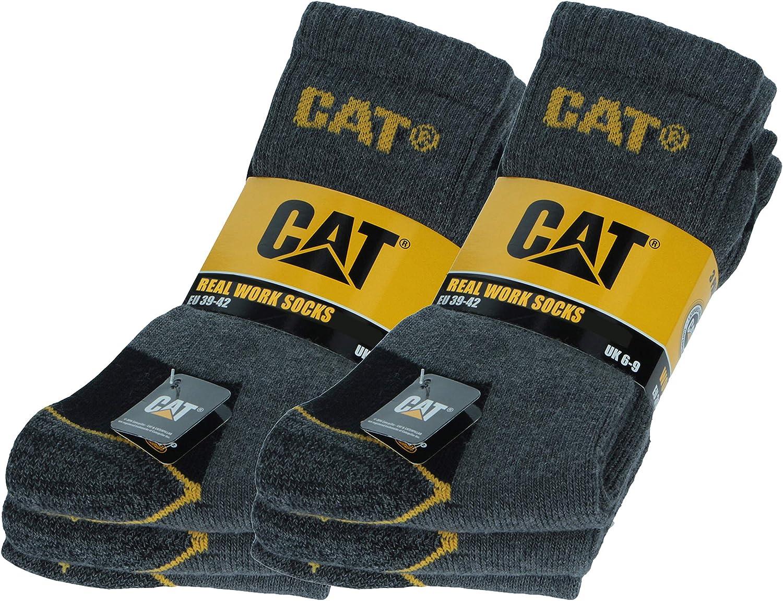 Caterpillar 6 Pares Calcetines CAT trabajo para hombres, reforzados en el talón y la punta, excelente calidad de Algodón