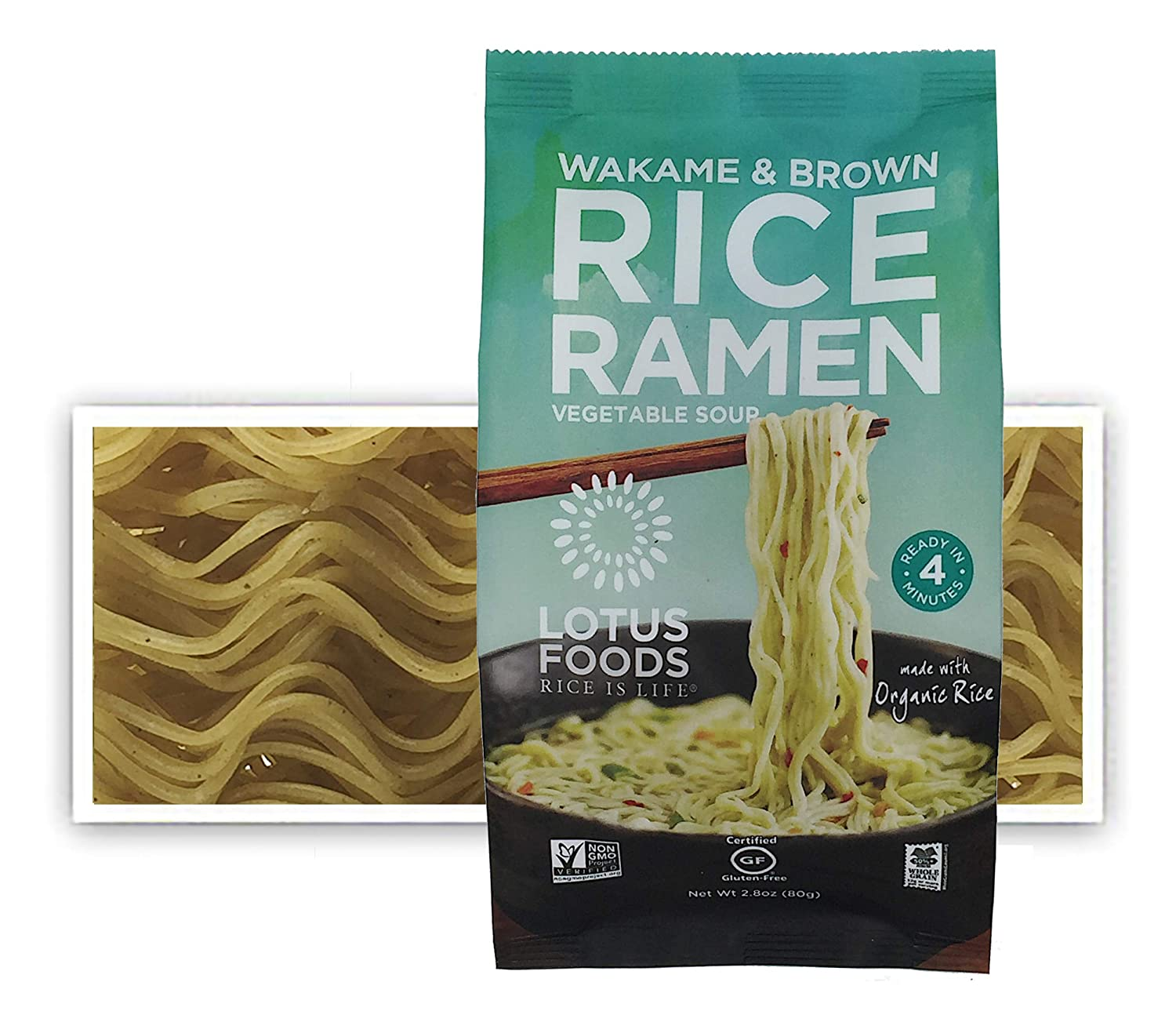 Lotus Foods Wakame & Brown Rice Ramen With Vegetable Soup, Gluten-Free, 10Count
