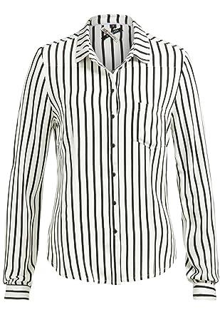 KHUJO Damen Bluse Tunika CONNY Shirt Streifen weiß schwarz langarm ... 49e9814759