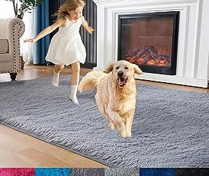 EasyJoy Fluffy Area Rugs for Bedroom Living Room, 4ft x 6ft Furry Carpet for Teens Room, Shaggy Throw Rug for Nursery Room, Fuzzy Plush Rug for Dorm, Cute Room Decor for Girls Boys Room, Dark Gray