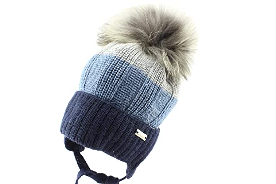 354d8ac940a Image Unavailable. Image not available for. Color  Barbaras Navy Warm Ear  Flap Winter Natural Fur Pom ...