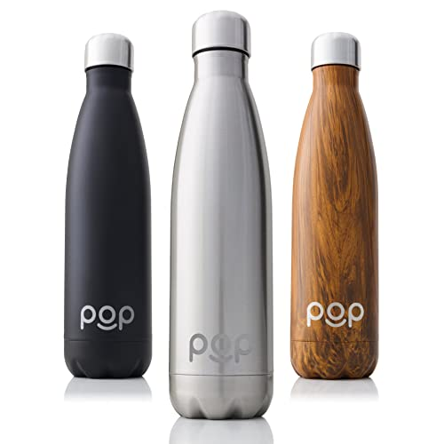 POP Water Bottle Design | Keeps Cold 24hrs. or Hot for 12hrs. | Sweat & Leak-Proof | Narrow Mouth & BPA Free | 500 ml or 750 ml | 3 Colors