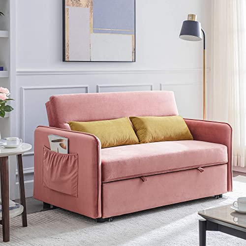 Merax Reversible Sleeper Sectional Sofa Couch, Sofa Bed Pull-Out Sleeper with 2 Lumbar Pillow Pink