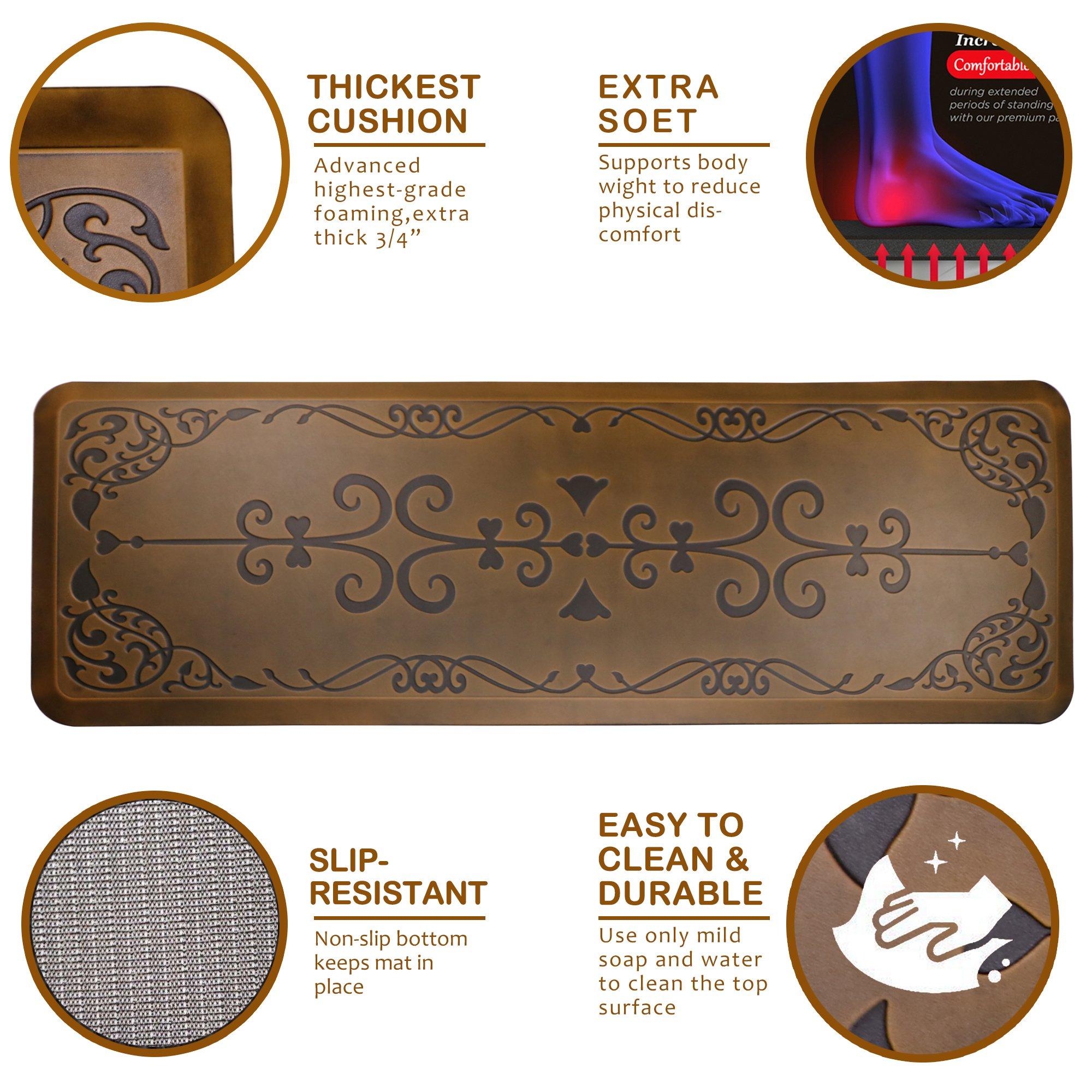 AMCOMFY Kitchen Anti Fatigue Mat,Comfort Floor Mats,Standing Desk Mats,Antique Series (24''x70''x3/4'', Love Flower Brown) by Amcomfy (Image #2)