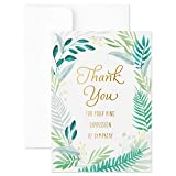 Hallmark Pack of 20 Thank You for Your Sympathy Cards, Gold Foil Greenery (Funeral Thank You Cards)