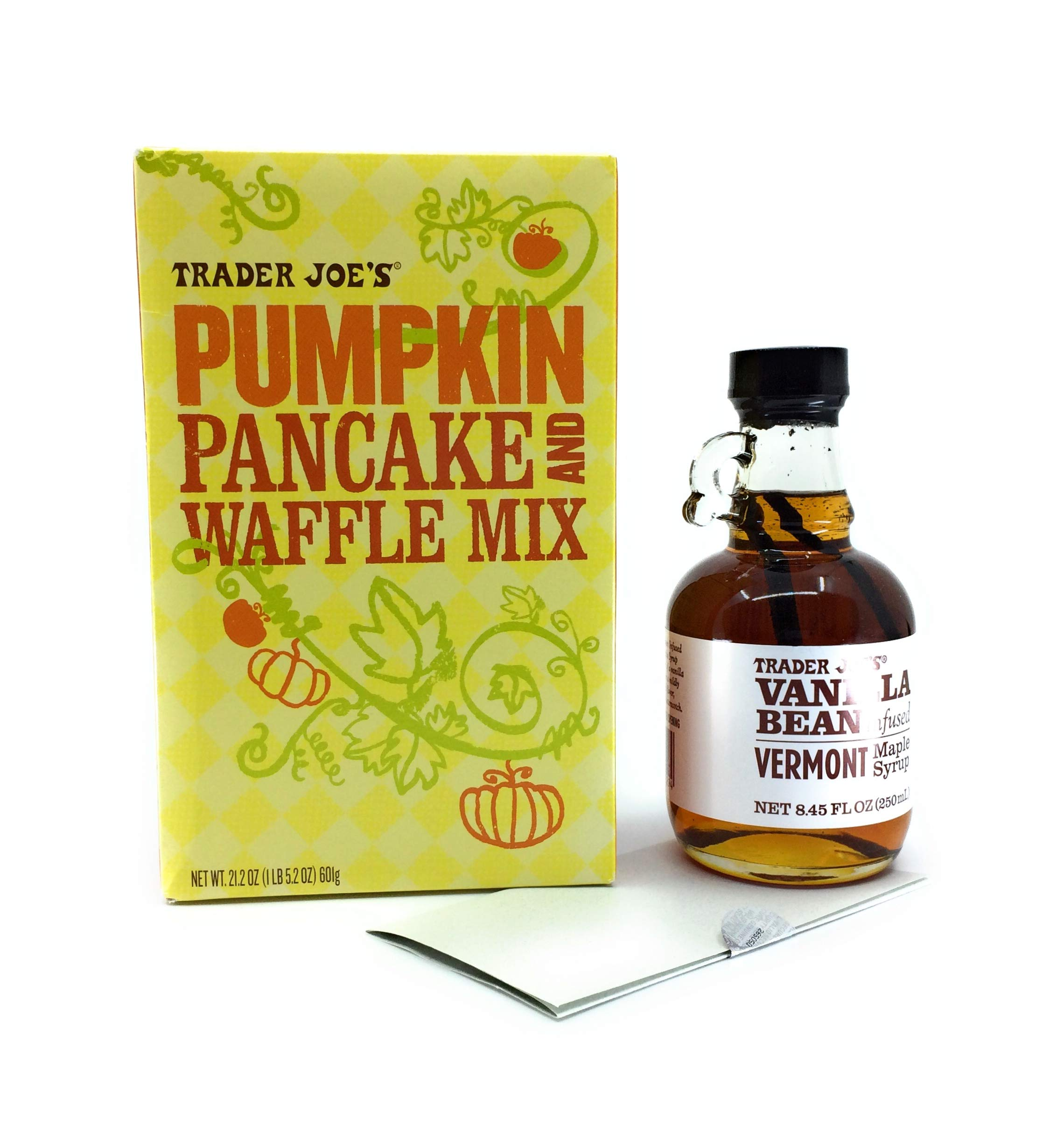 Trader Joes Pumpkin Pancake and Waffle Mix and TJ's - Vanilla Bean Infused Vermont Maple Syrup Bundle Plus a Bonus Pumpkin Pie Donuts With Maple Glaze (2+ Items) by Trader Joe's custom