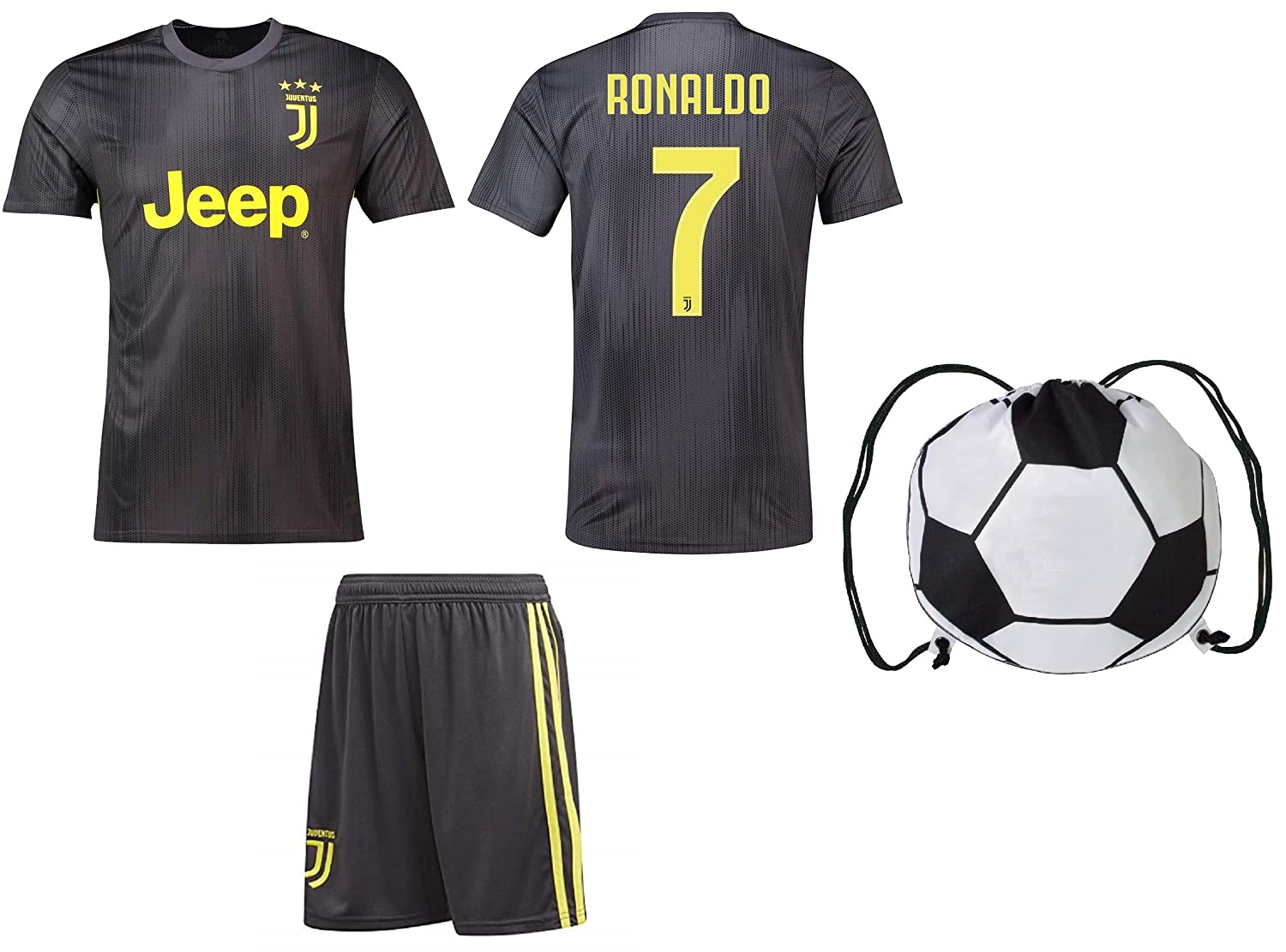 promo code dad1a 075f1 Cristiano Ronaldo Juventus #7 Youth Soccer Jersey Away Short Sleeve Shorts  Kit Kids Gift Set