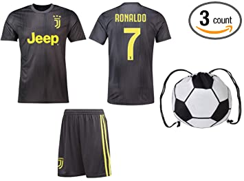 promo code abae1 cb270 Cristiano Ronaldo Juventus #7 Youth Soccer Jersey Away Short Sleeve Shorts  Kit Kids Gift Set
