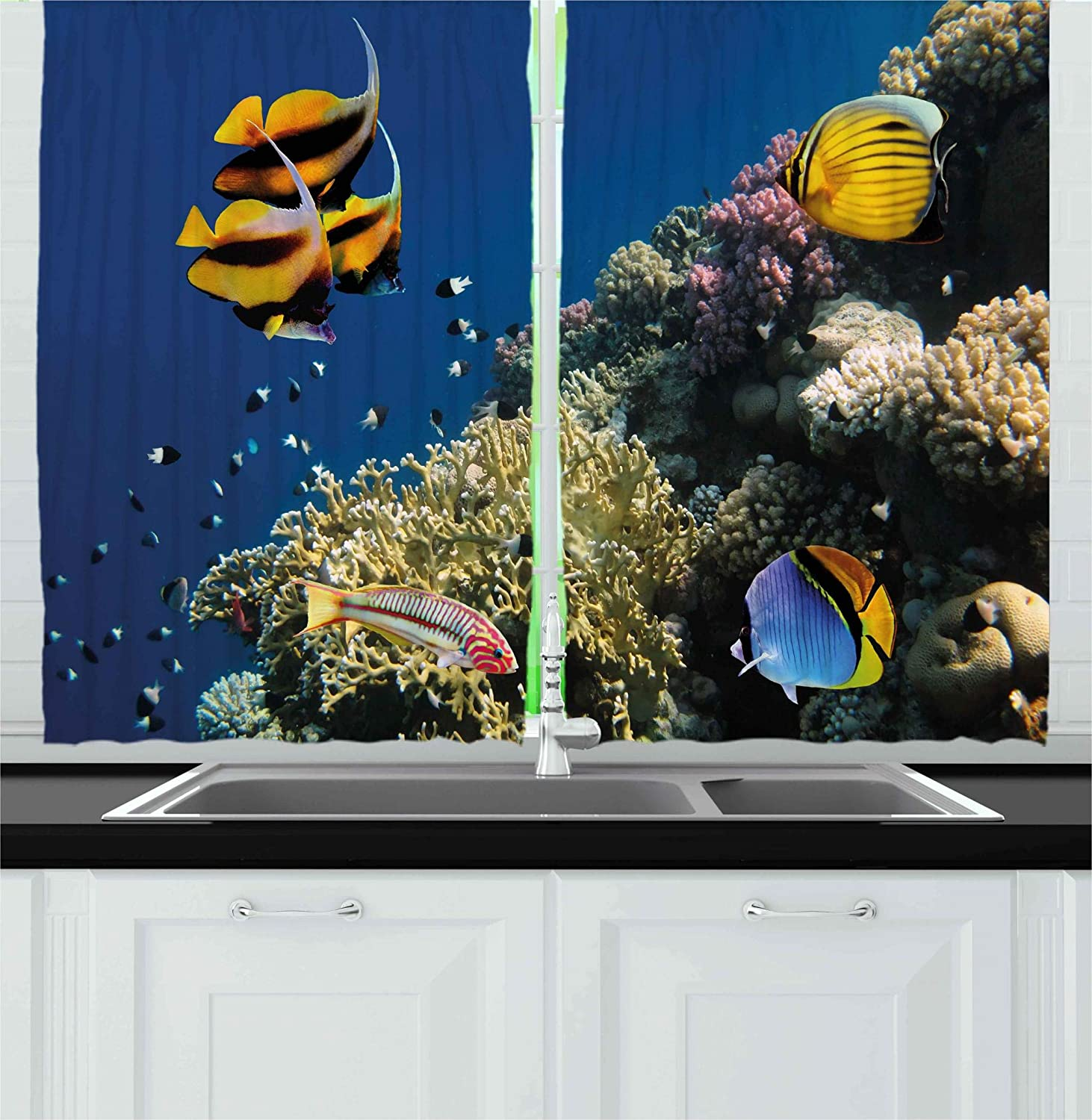 Ambesonne Ocean Kitchen Curtains, Underwater Life Hard Coral Reef Red Sea Egypt Tropical Fishes Aquatic Nautical Image, Window Drapes 2 Panels Set for Kitchen Cafe, 55W X 39L Inches, Multicolor