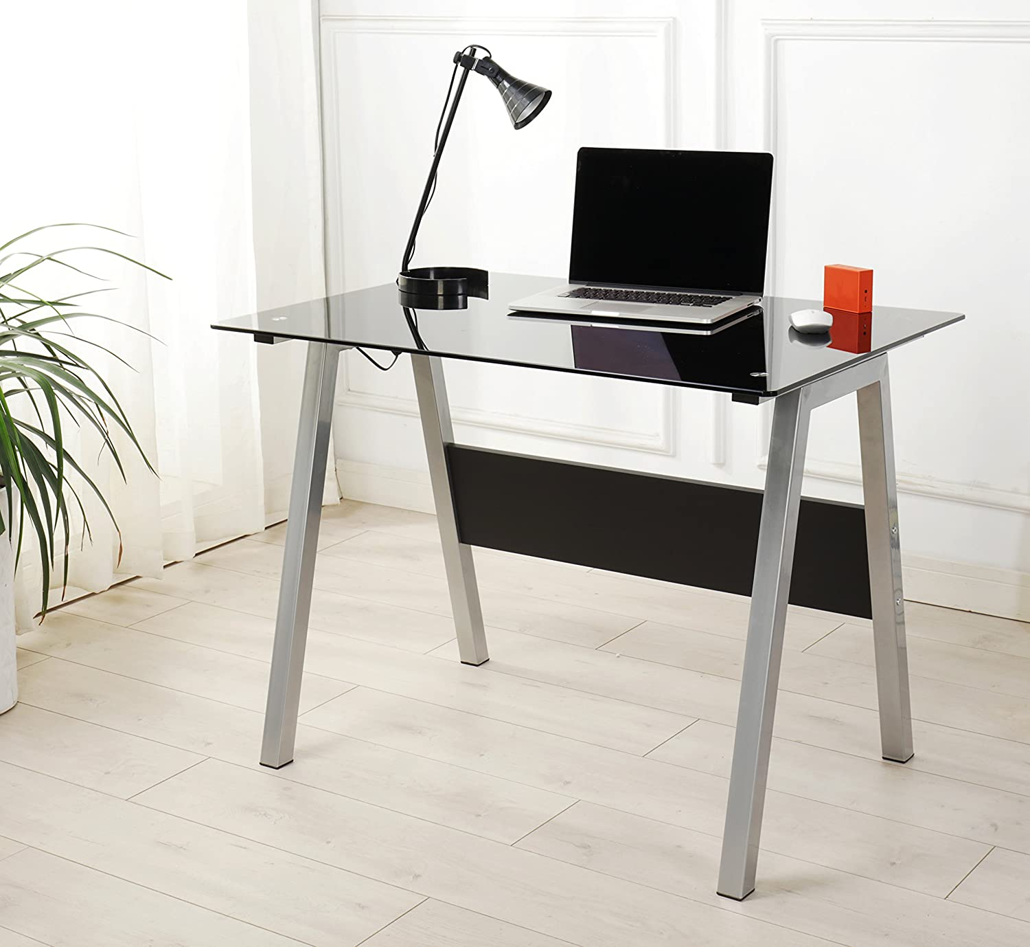 Contemporary Glass Top Computer Desk Small Study Table Compact