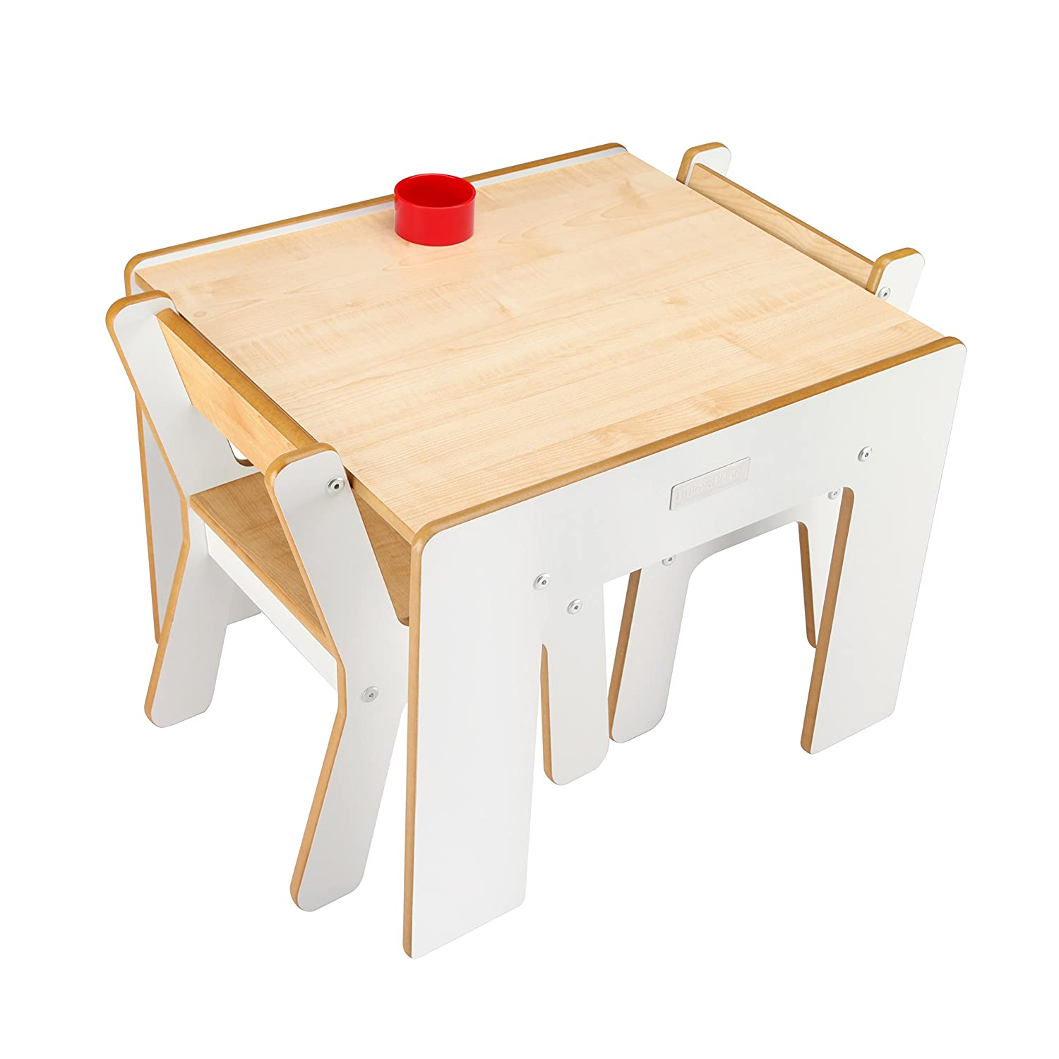 Little Helper FunStation Duo Toddler Table and 2 Chair Set - Natural & White CP-FSD02-3-UK