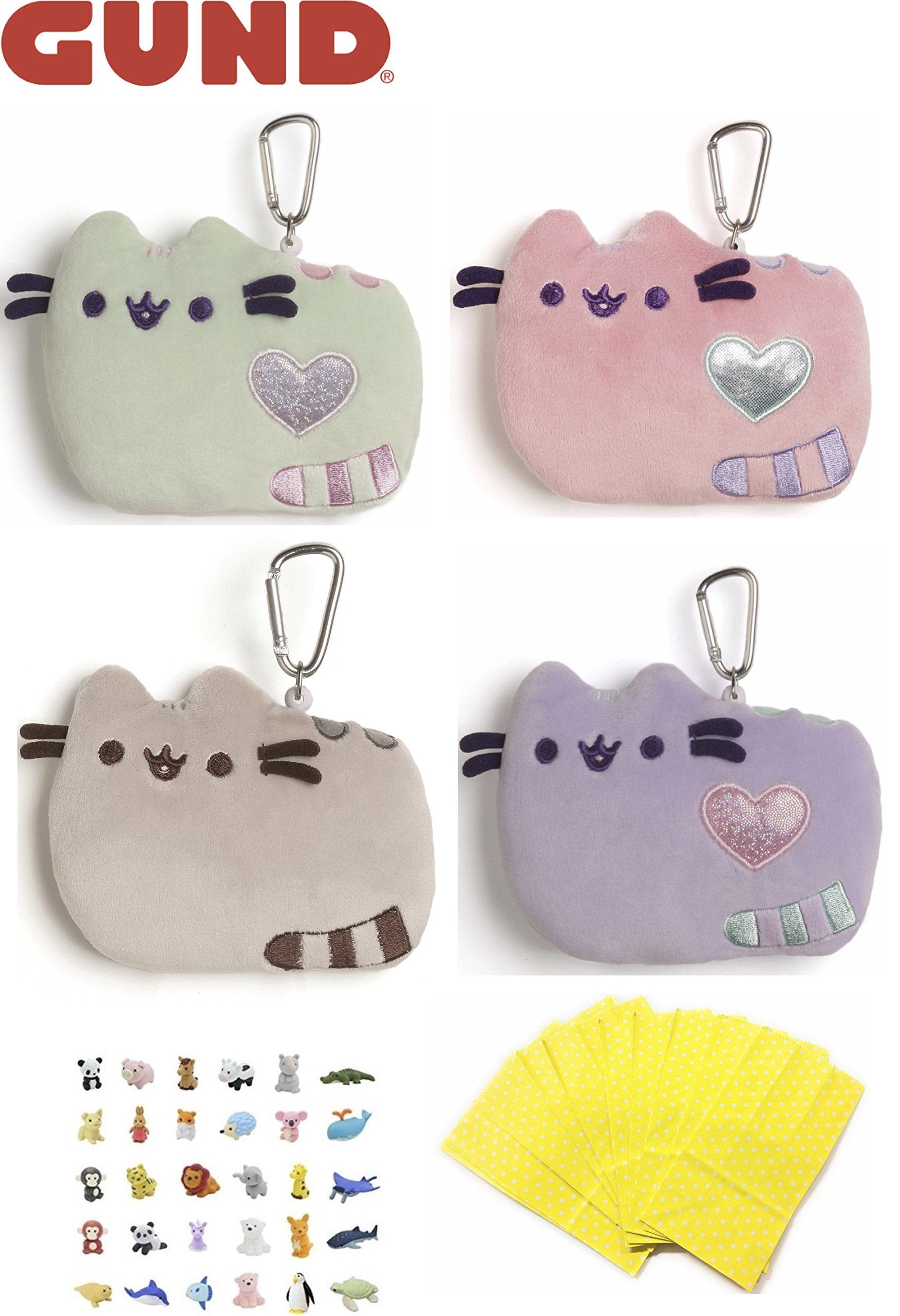ReBL LLC GUND Pusheen Stuffed Plush Animals Toys Bundle Set of Clips Keychains Party Favors with Animal Puzzle Erasers and Gift Goodie Bags (Pusheen ID Cases) by ReBL LLC