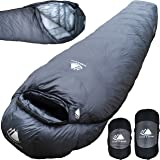 Hyke & Byke Katahdin 15 & 0 Degree F 625 Fill Power Hydrophobic Sleeping Bag with Advanced Synthetic - Ultra Lightweight 4 Season Men and Women Mummy Bag Designed for Backpacking