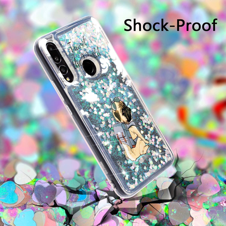 Silicone Souple Glitter Antichoc Etui Huawei Y9 Prime 2019 Transparente Motif Housse de Protection Case pour Fille Femme HopMore Paillettes Coque pour Huawei Y9 Prime 2019 Huawei P Smart Z Chien