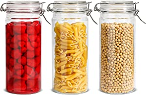 ComSaf Airtight Glass Canister with Lid Set of 3, 50oz Food Storage Jar, Storage Container with Seal Wire Clamp Fastening for Kitchen Fermenting Preserving Canning Pasta Flour Cereal