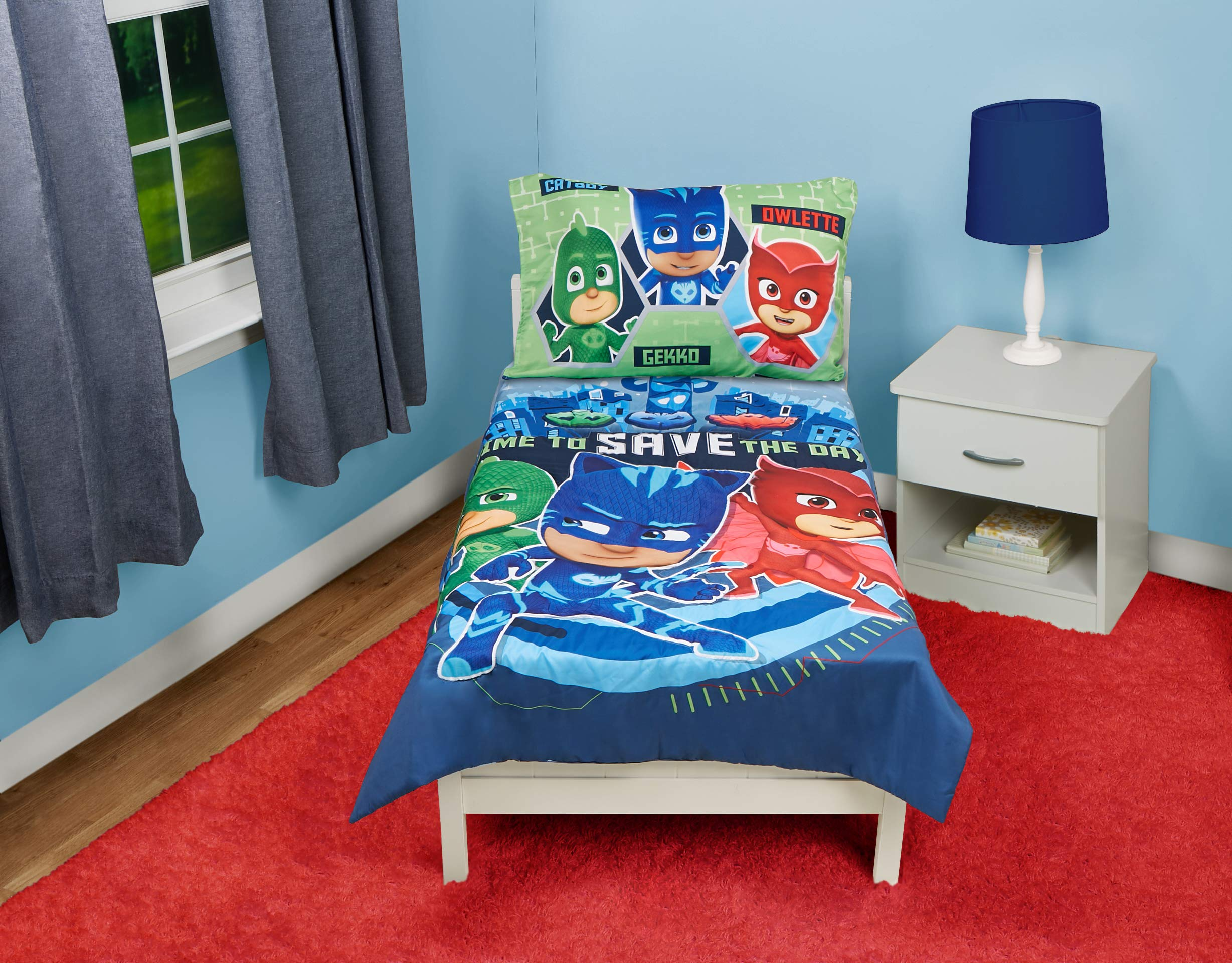 PJ Masks Time to Save The Day 4 Piece Toddler Bedding Set, Blue by PJ Masks