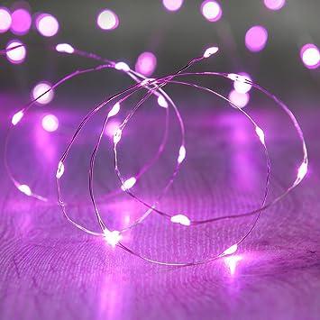 Lights4fun LED Draht Micro Lichterkette rosa Batteriebetrieb, 20 ...